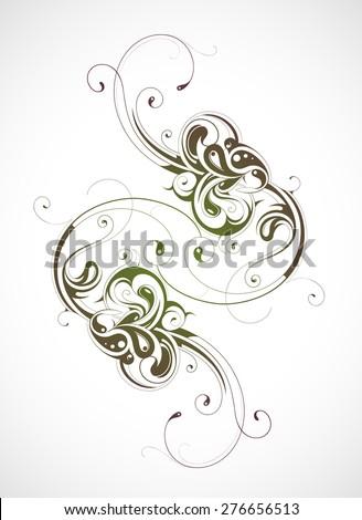 Graphic design element with calligraphic swirls - stock vector