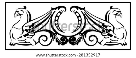 Graphic design element with two gryphons - stock vector