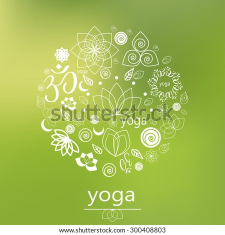 graphic design elements in outline style for spa center or yoga studio - stock vector