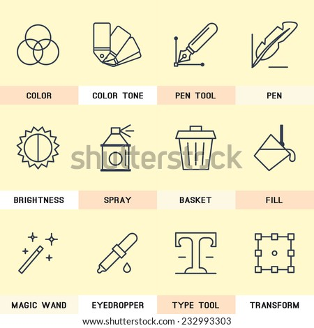 Graphic Design icons, selection of colors, pen tool, creativity, magic wand, trash removal. the type tool, transformation. - stock vector