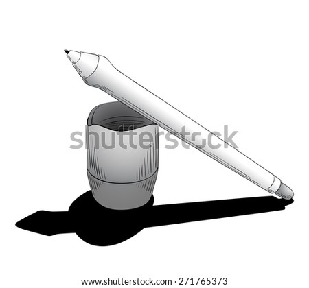 Graphic design instrument, pen for tablet with touchscreen, to digitalizing illustration or retouching photos  - stock vector