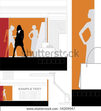 Graphic design, modern interior. This consists of interior design store and a discount card. Nearby there is a table lamp. - stock vector