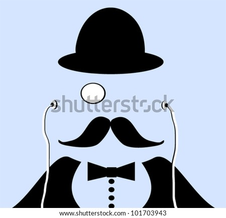 graphic design of old time gentleman wearing bowler hat and monocle with modern earphones - stock vector