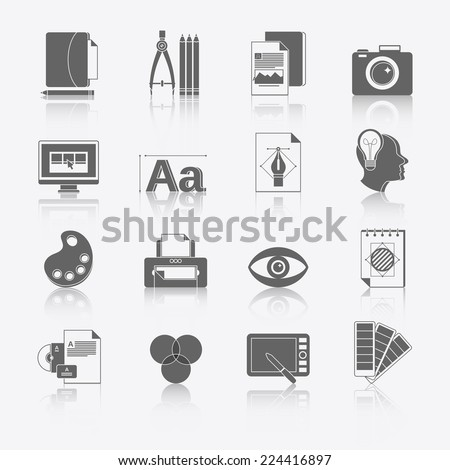 Graphic design studio tools black icons set with brush marker camera isolated vector illustration. - stock vector