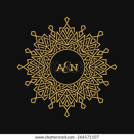 Graphic Design Templates for Logo, Labels and Badges. Abstract Line Ornate Frames. Vector illustration. - stock vector