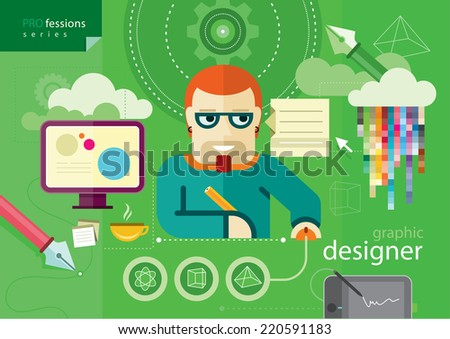 Graphic designer profession series. Workplace and icons of designer flat design cartoon style - stock vector