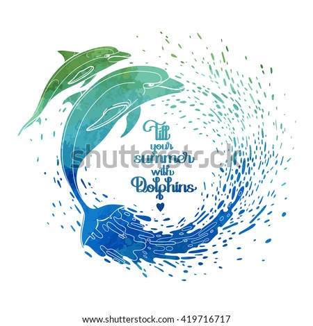 Graphic dolphins with circle of water splashes. Summer mood. Vector watercolor art isolated on white background. Sea and ocean creatures in black and white colors - stock vector