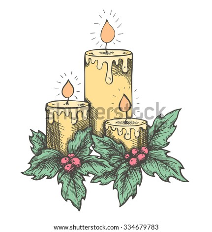 graphic drawing candles and holly berries and leaves. sketch freehand pen and ink - stock vector