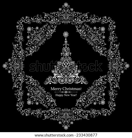 Graphic elegant Christmas tree isolated on Black background. Vector illustration - stock vector