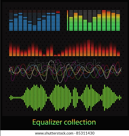 Graphic equalizer types - stock vector