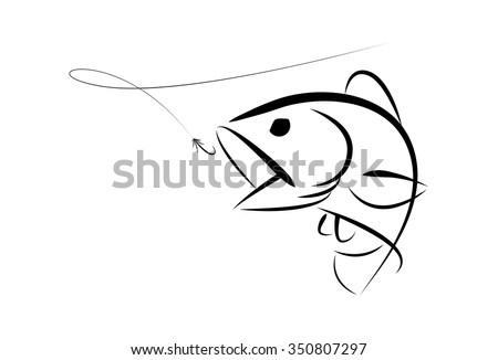 Graphic Fishing Bass - stock vector
