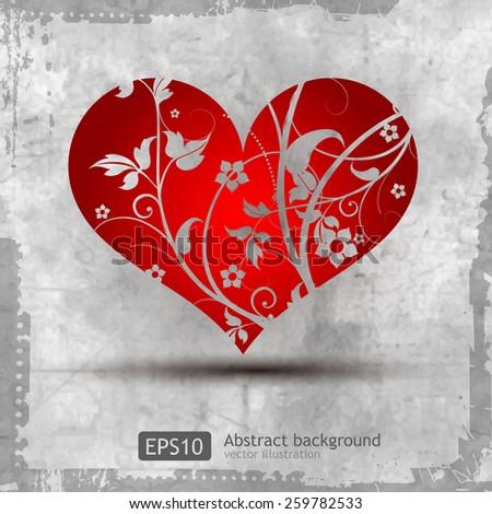Graphic grunge heart - stock vector