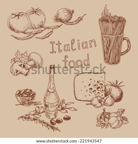 graphic hand-drawn illustrations. set of national  italian cuisine - stock vector