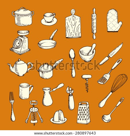 Graphic hand-drawn set of kitchen utensil - stock vector