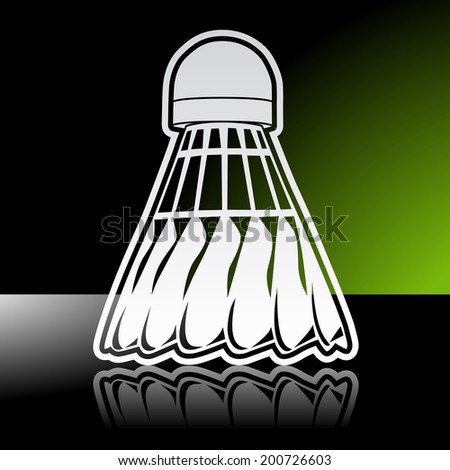 Graphic icon of badminton shuttlecock birdie with reflection. Illustrator 10 EPS with blends and opacity mask - stock vector