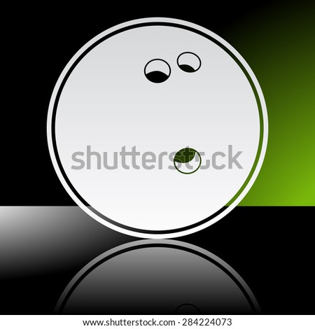 Graphic icon of bowling ball with reflection - stock vector