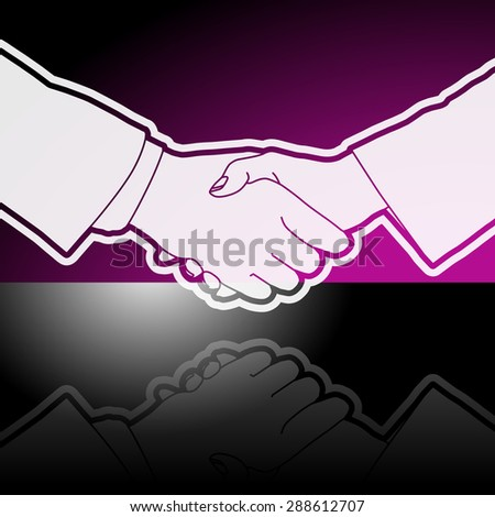 Graphic icon of business executives shaking hands with reflection. - stock vector