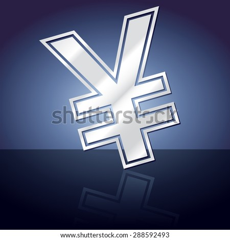 Graphic icon of yen sign symbol with reflection. - stock vector
