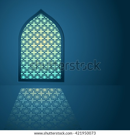 Graphic illustration of arabic pattern on mosque window - stock vector