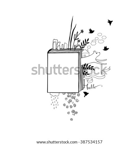 Graphic illustration of books in doodle style. - stock vector