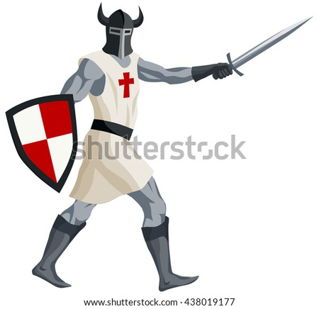 graphic illustration of medieval knight in helmet with shield and sword - stock vector