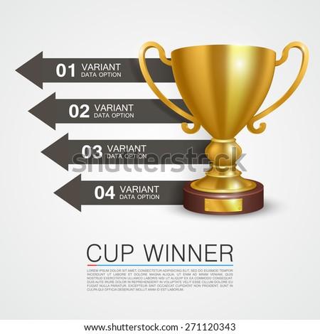 Graphic information Winner cup. Vector illustration - stock vector