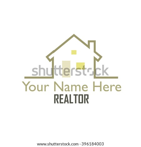 Graphic, linear drawing of a home which could be used for a individual realtor, a realty company or a building construction business logo. - stock vector