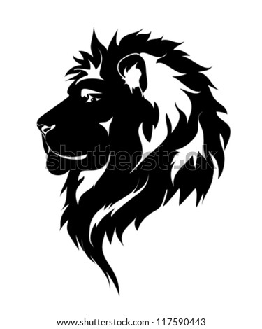 Graphic lion, black and white drawing for tattoo. - stock vector
