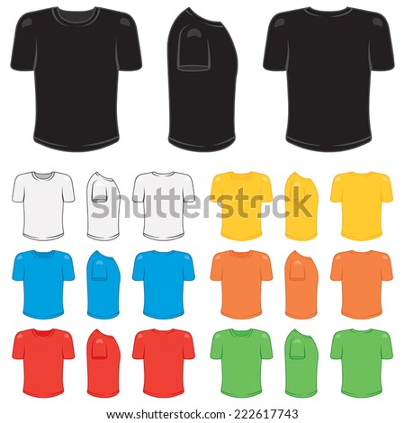 Graphic male t-shirt in a variety of basic colors. - stock vector