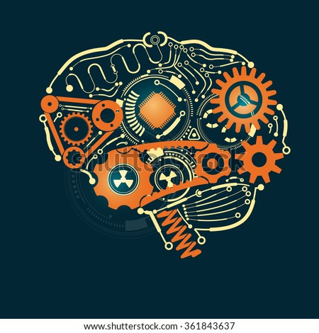 graphic of a brain in technological look - stock vector