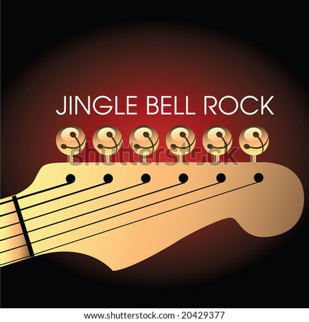 Graphic of bells on guitar to illustrate Jingle Bell Rock. Space for text. - stock vector