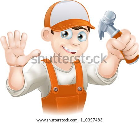 Graphic of smiling handyman, builder, construction worker or carpenter in overalls holding a claw hammer and waving - stock vector