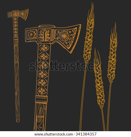 graphic outline ax with ornaments and the yellow stalks of wheat on a brown background - stock vector