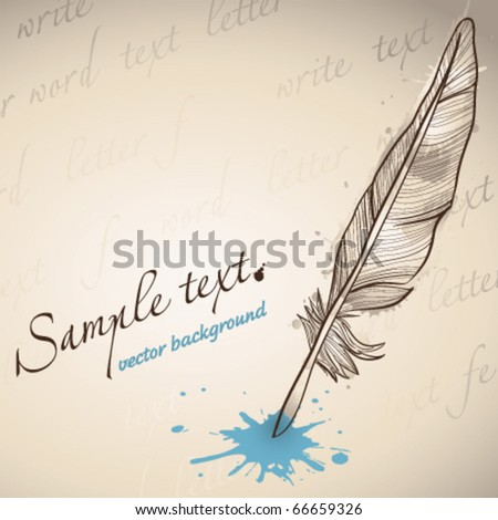 Graphic painting of feather - stock vector