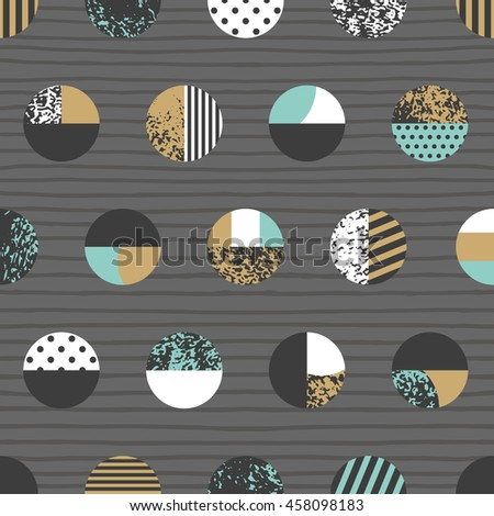 Graphic patterned circles seamless pattern. Vector illustration. - stock vector
