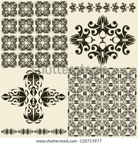 graphic patterned ornament - stock vector