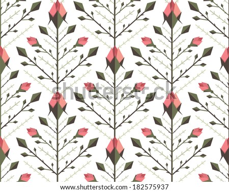 Graphic Roses Pattern Background. Floral flat backdrop tileable illustration. Vector EPS8. - stock vector