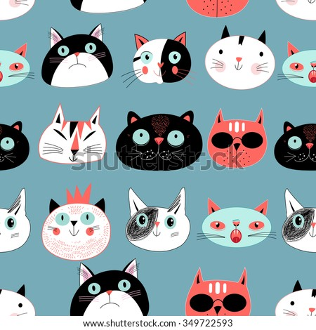 Graphic seamless pattern portraits of cats on a blue background - stock vector