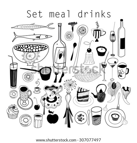 Graphic set of food and drink isolated on white background - stock vector