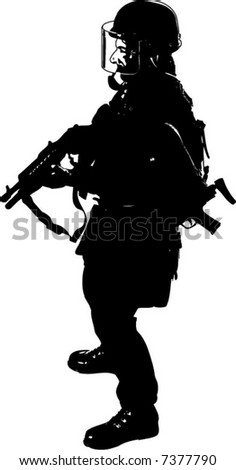 Graphic Silhouette of a full uniform special operation, military figure. Isolated on white. - stock vector