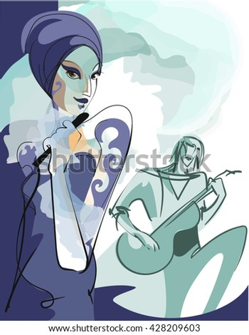 Graphic sketch of portrait extravagant rock - singer at her 