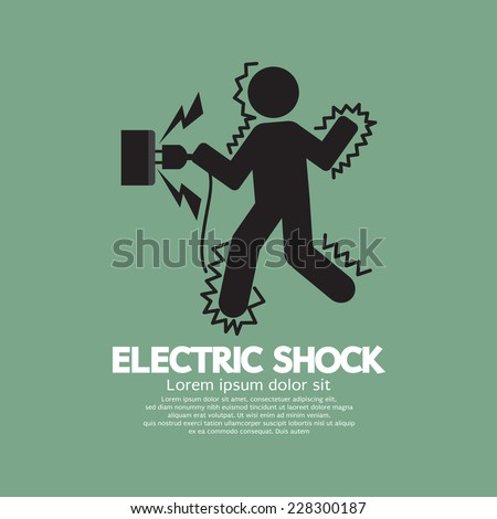 Graphic Symbol Of A Man Get An Electric Shock Vector Illustration - stock vector