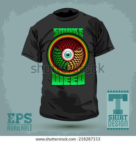Graphic T- shirt design - Smoke weed badge - red eye icon Vector illustration - shirt print - stock vector