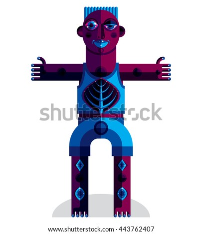 Graphic vector illustration, anthropomorphic character isolated on white, decorative modern avatar made in cubism style.  - stock vector
