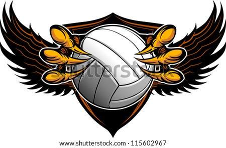 Graphic Vector Image of a  Eagle Claws or Talons Holding a Volleyball - stock vector