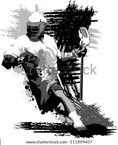 Graphic Vector Image of a Lacrosse Player Running with a Lacrosse Stick - stock vector