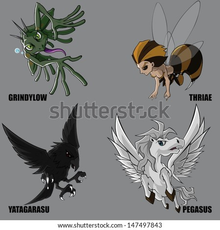 Graphic Vector Of Mythical Creatures Set 13 - stock vector