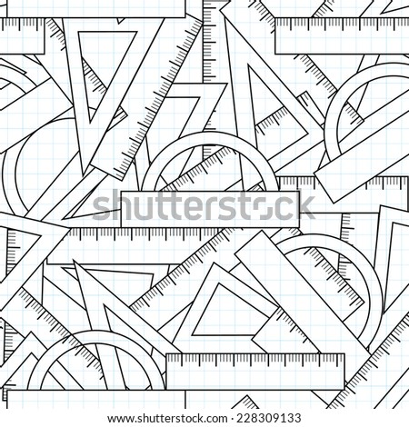 Graphic vector seamless pattern with school kit accessories: triangles, angle protractors and rulers - stock vector