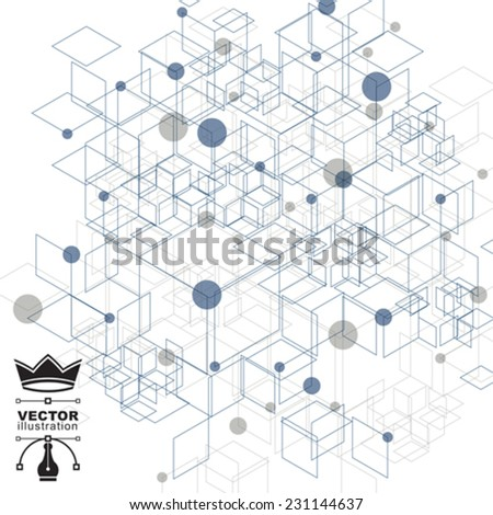 Graphic web background with cubes, mesh vector abstract complicated cover created from geometric figures, eps10 tech illustration. Internet technology theme, digital backdrop. - stock vector