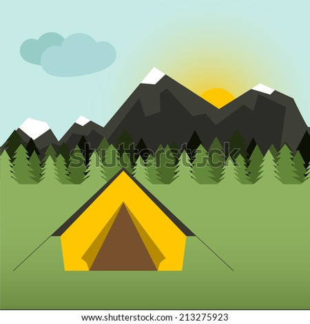 Graphical camping illustration made in flat style. Vector camping concept with tent and nature around. - stock vector